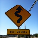 """The next sign said """"turns and hills next 63 miles""""  Welcome to Big Sur."""