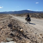 It's difficult to get photos of yourself on the bike when touring alone...  Tony and I head across the desert.