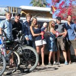 The campground crew in Loreto.  From left to right: Felix, Me, Constantine, Anushka, Kilian, Maire, Johan, Karl.  Constantine, Anushka, and Kilian are a very young german family driving in the VW van behind.  Kilian is 7 months old and has been traveling for 4 months.  Marie and Johan are swiss Pan-americana cyclist traveling south.