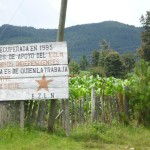 The sign reads: This land recovered in 1995 for bases of support of EZLN and independent farmers.  The land belongs to those who work it.  Zapata lives on.  The fight continues.