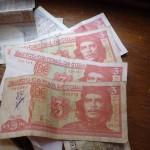 Gotta love Ché.  The famous Argentinian revolutionary´s face still appears everywhere in Cuba.  These 3 peso notes are worth about $0.13 USD