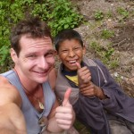 Me and my buddy Brandon at the 10,000 km mark of the Tour de Zack y Tony.  Near Tecpan, Guatemala