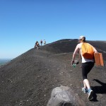 Climbing along the ridge of Cerro Negro